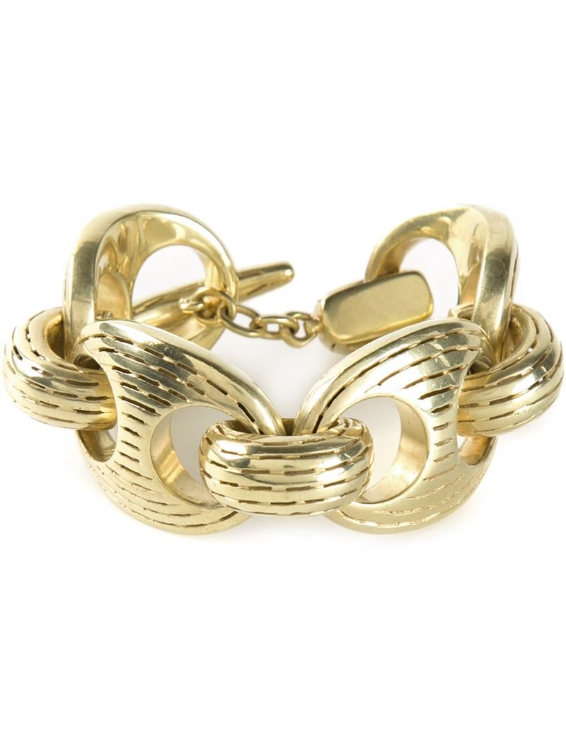 lyst vaubel chunky ridge chain bracelet in metallic