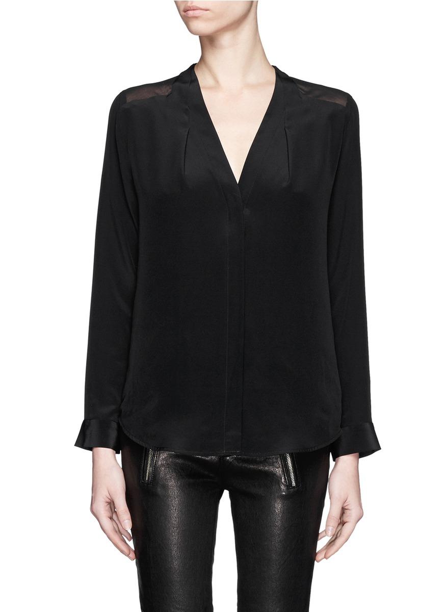 Sandro collarless long sleeve silk shirt in black lyst for Silk long sleeve shirt