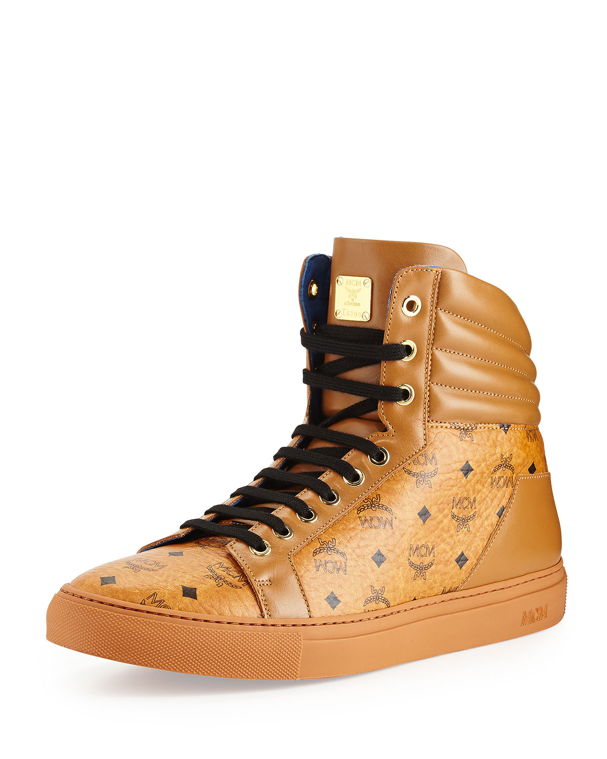 mcm monogrammed high top sneaker in brown for men lyst. Black Bedroom Furniture Sets. Home Design Ideas