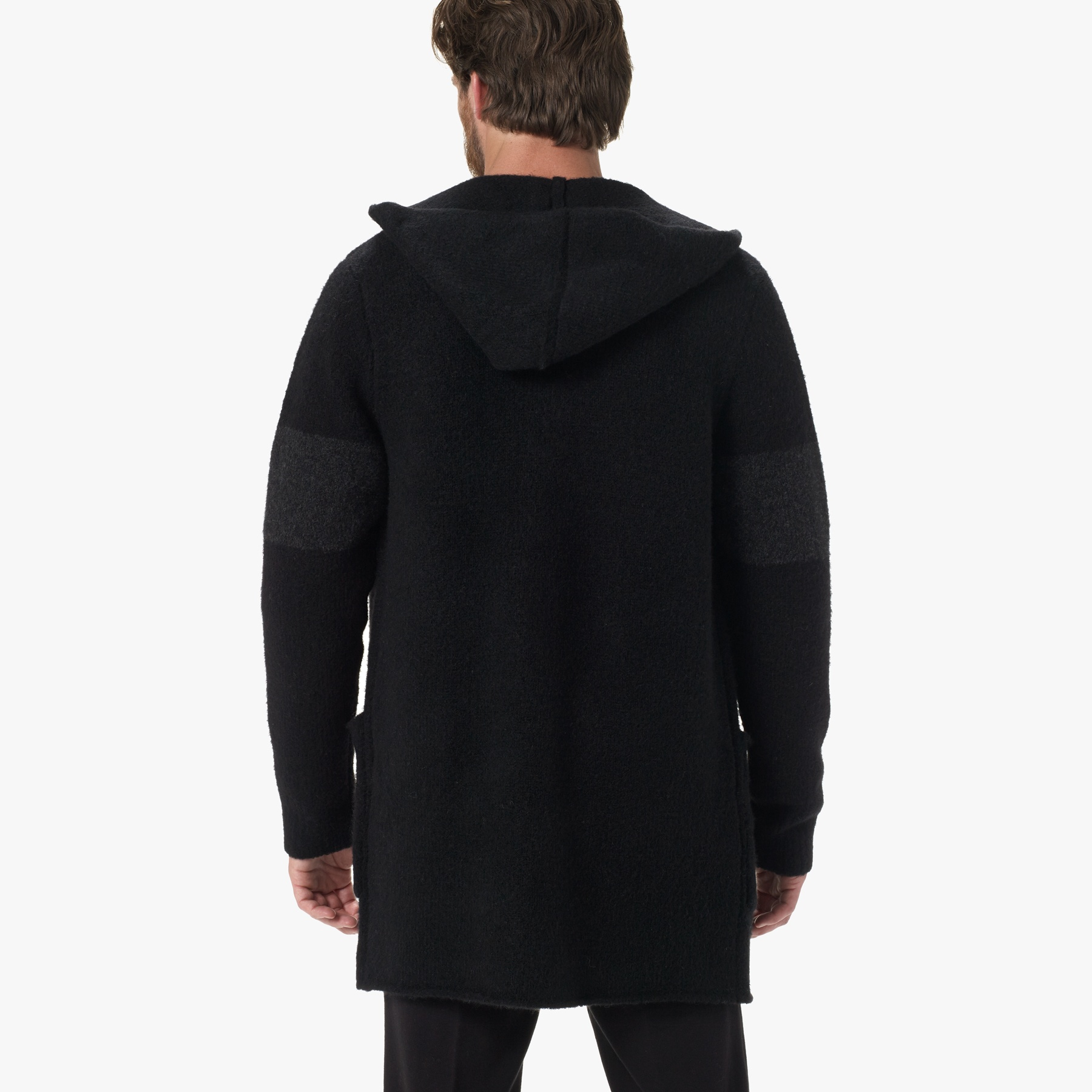 James perse Striped Hooded Sweater Coat in Black for Men | Lyst