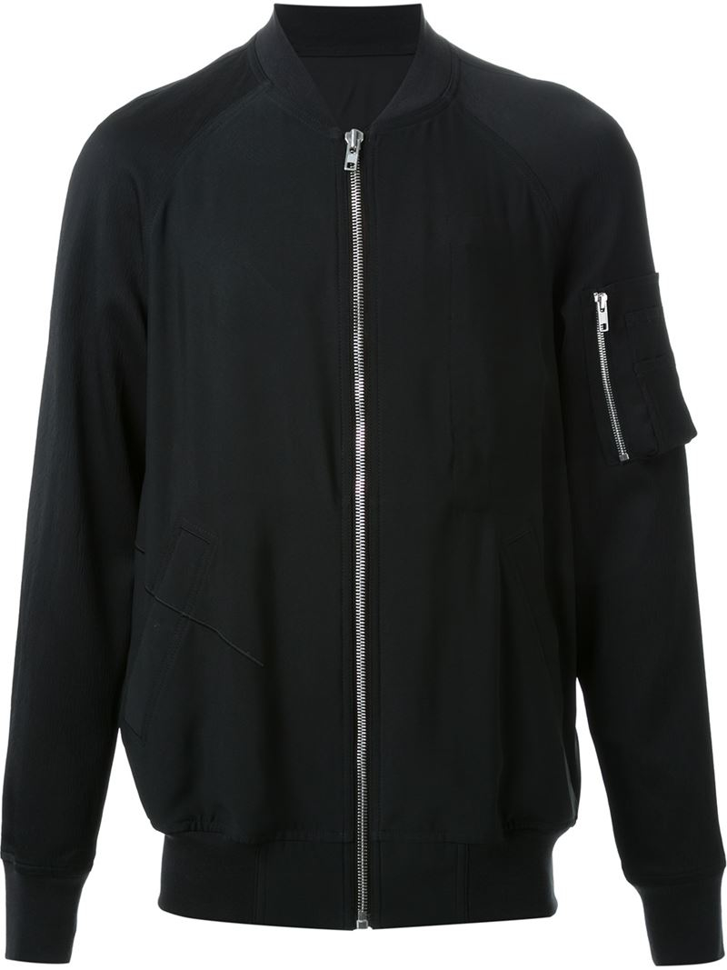 Rick Owens Embroidered Back Bomber Jacket In Black For Men