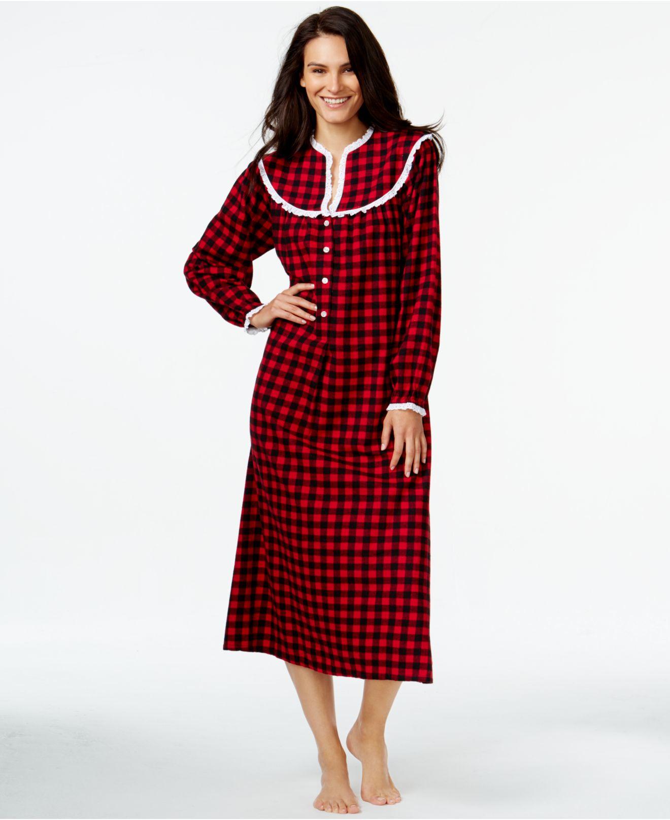 Lyst - Lanz Of Salzburg Flannel Henley Nightgown in Red