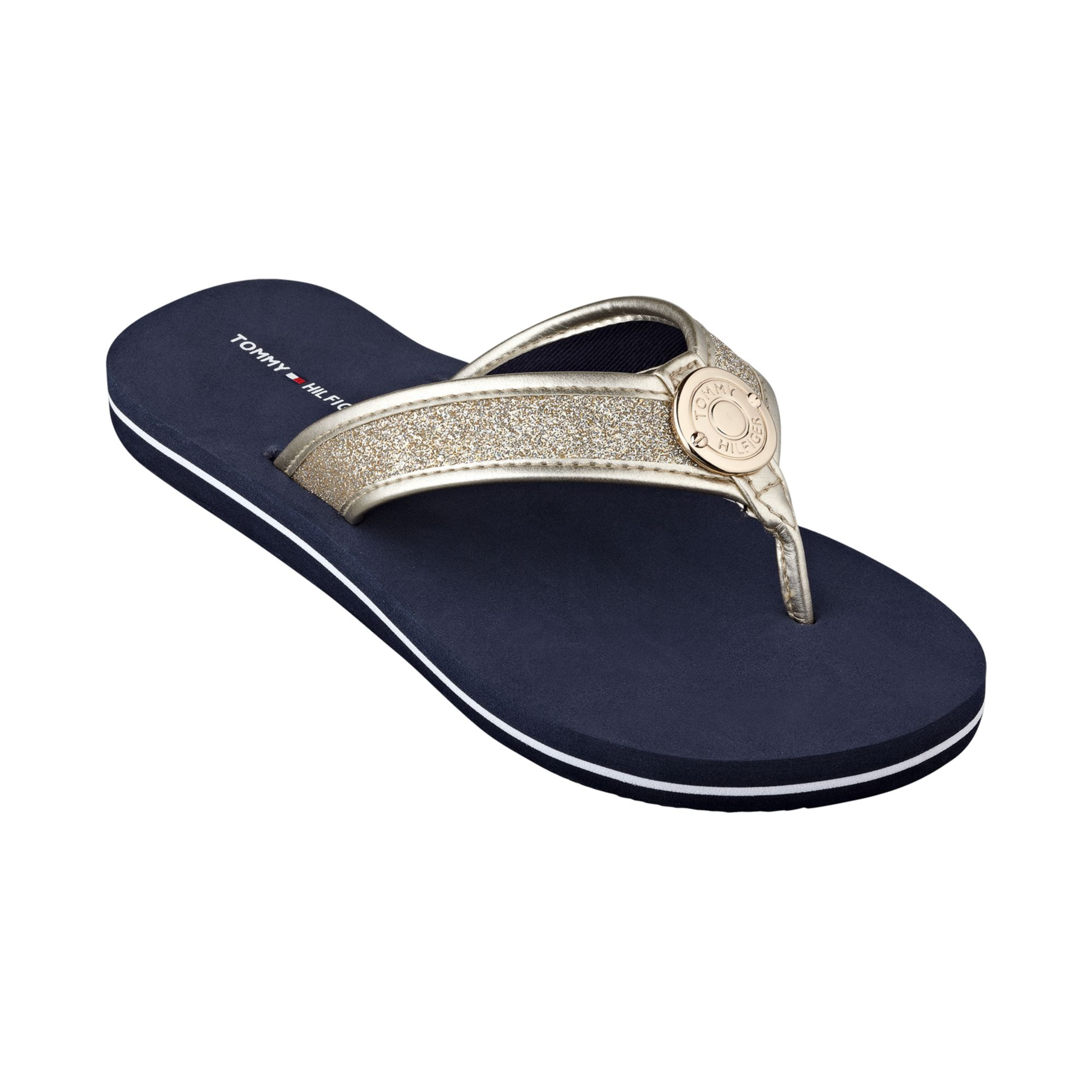 tommy hilfiger women 39 s carma glitter flip flops in blue. Black Bedroom Furniture Sets. Home Design Ideas