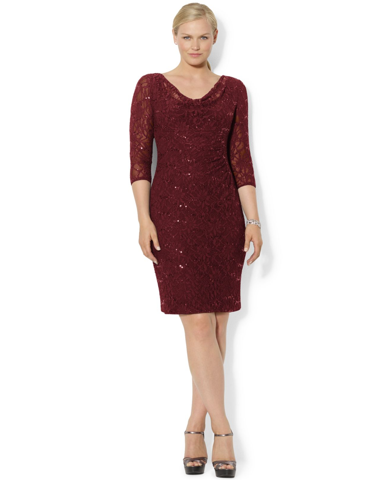 Lauren by ralph lauren Plus Size Sequin Lace Sheath Dress in Brown ...
