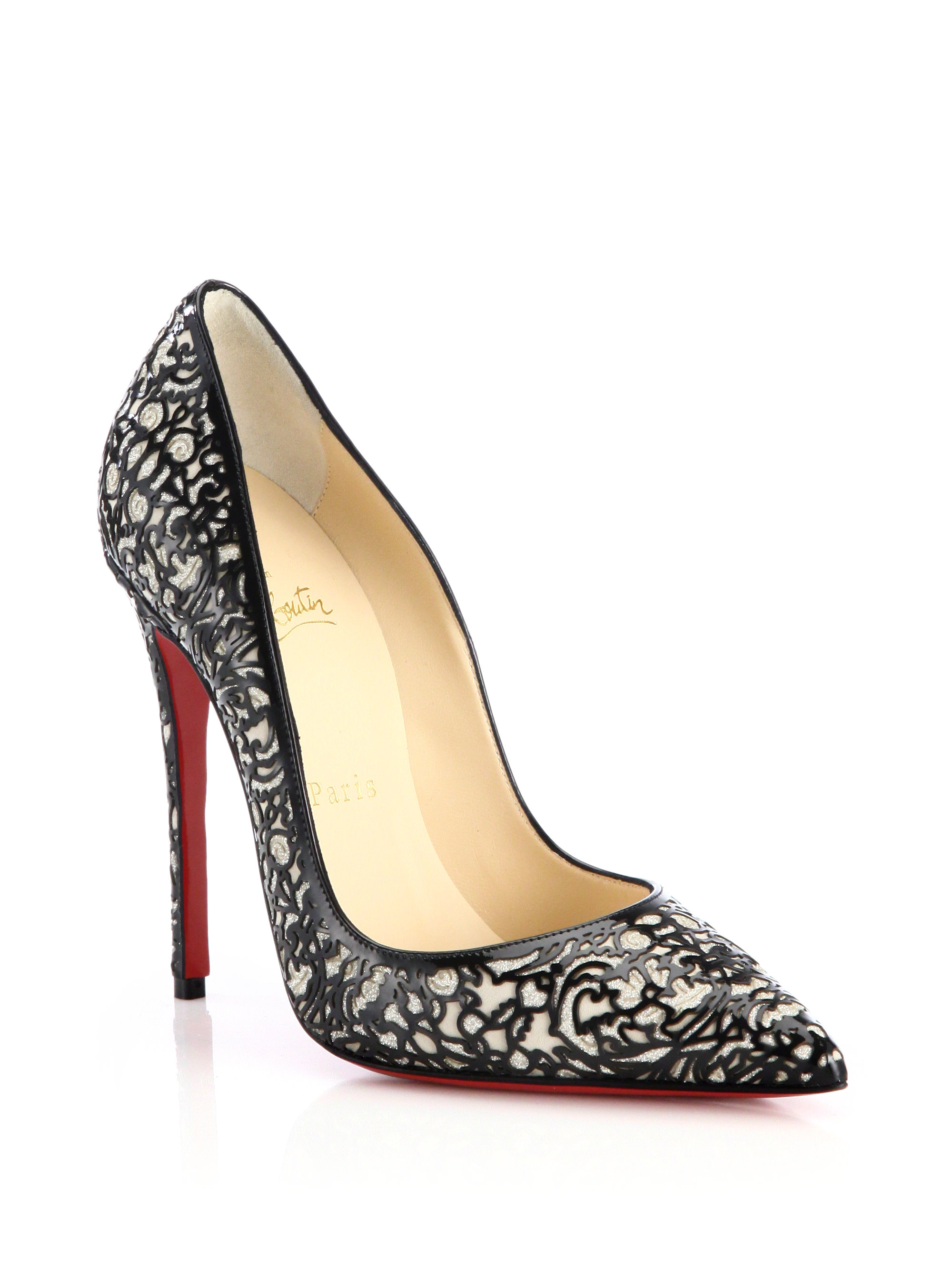cheap louboutin shoes replica - christian louboutin platform peep-toe pumps Black patent leather ...