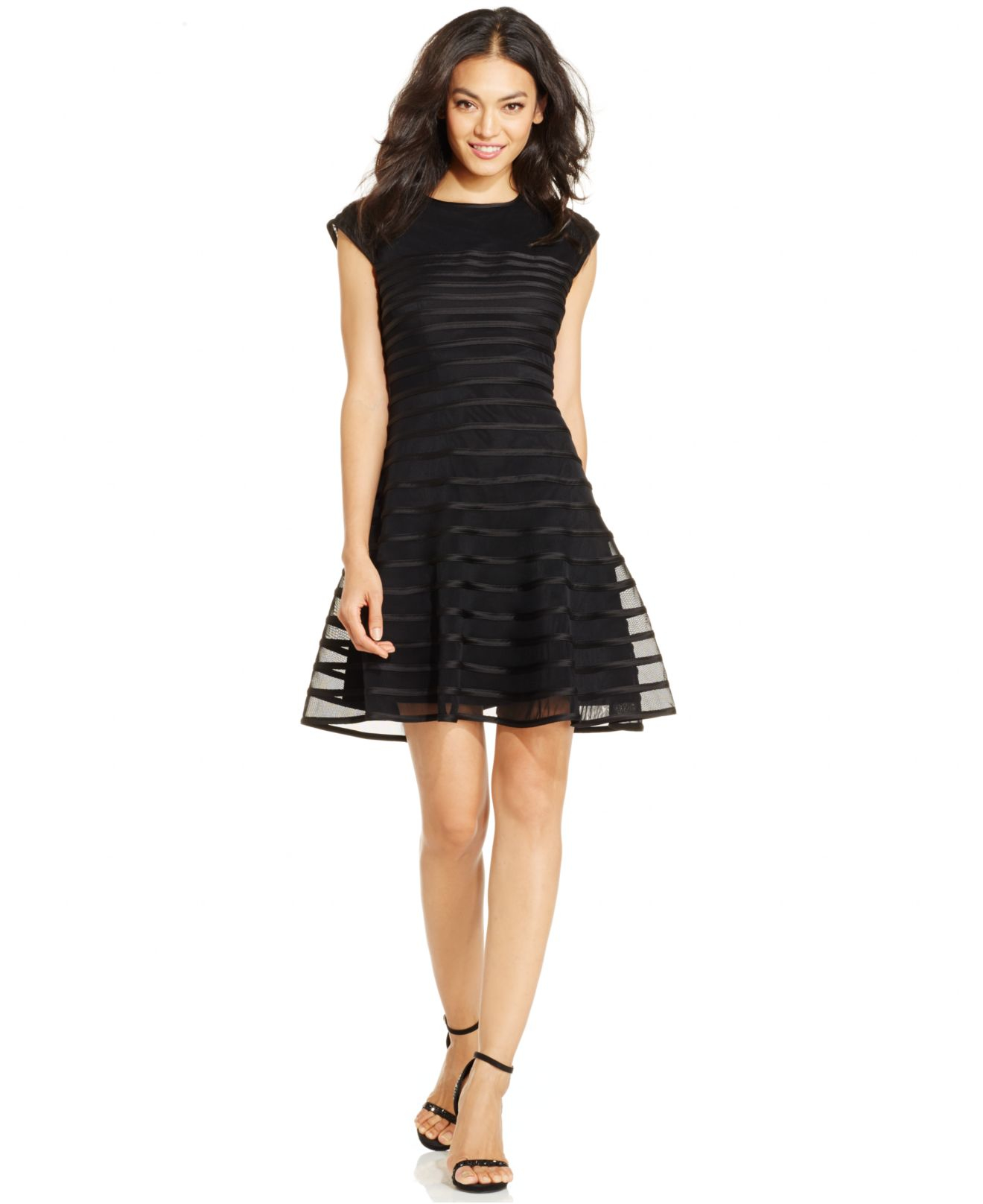 a204688462caa Betsy & Adam Cap-sleeve Ombre-stripe Dress in Black - Lyst
