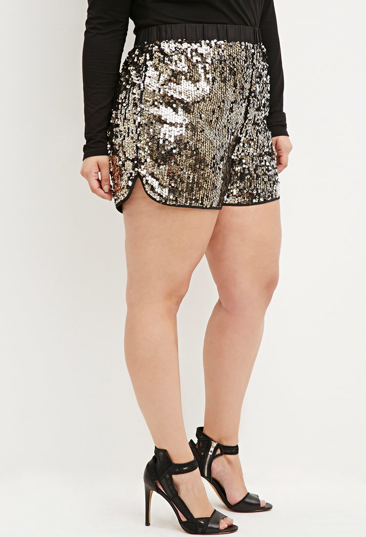 Lyst - Forever 21 Sequin Shorts in Black