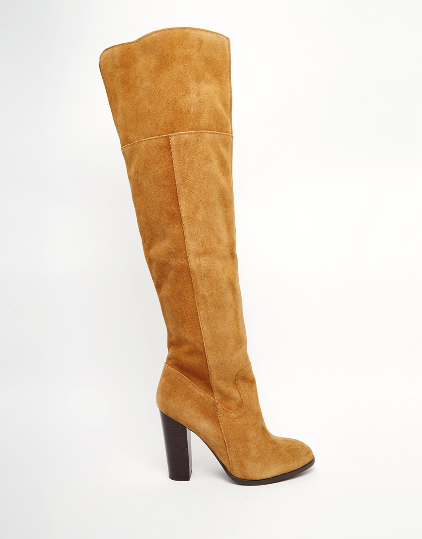 Lyst Aldo Bove Tan Leather Block Heeled Over The Knee