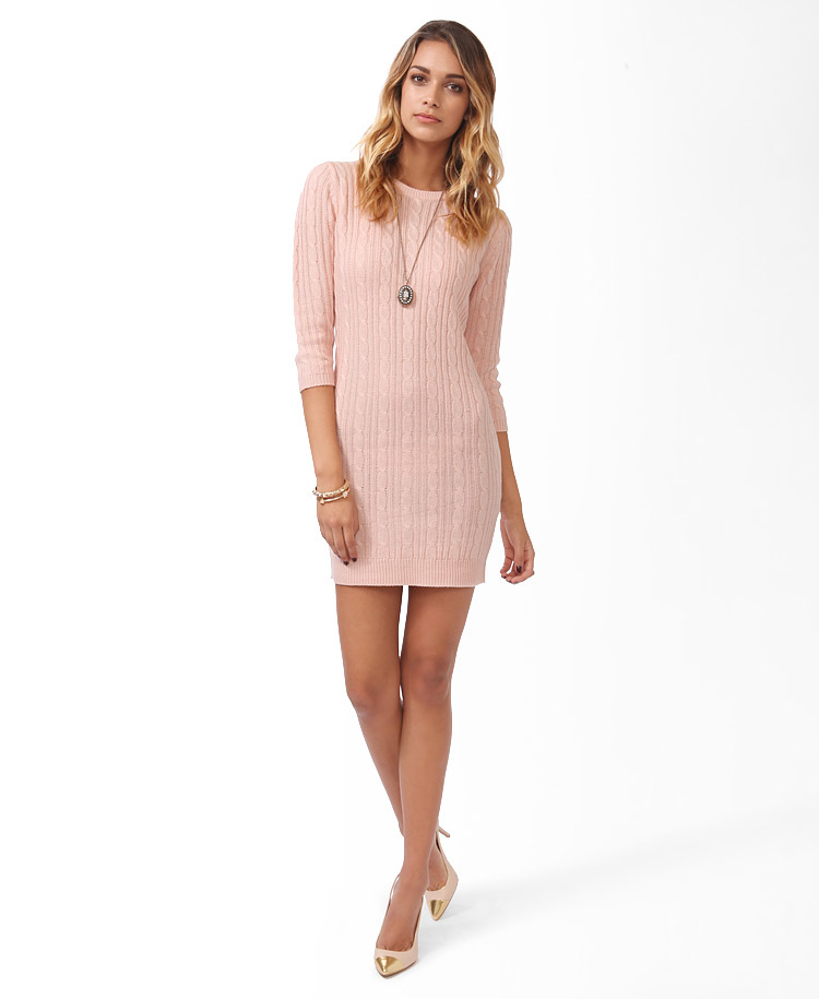 Forever 21 Essential Cable Sweater Dress in Pink | Lyst