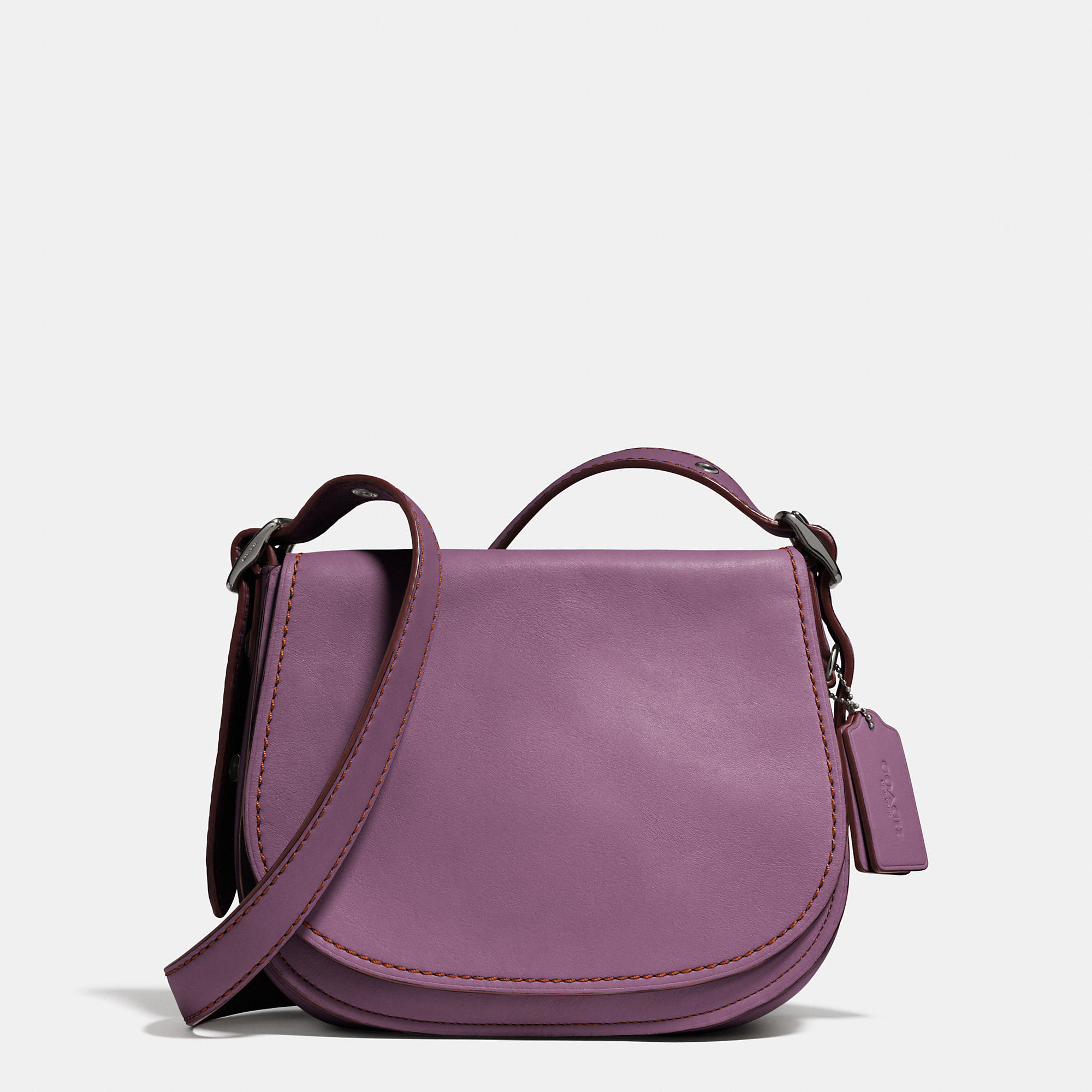Coach 23 Leather Saddle Bag in Purple | Lyst