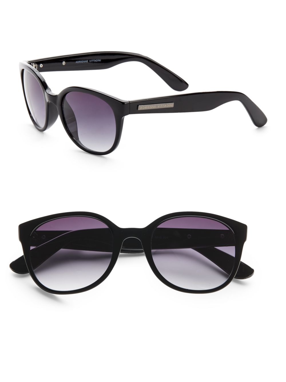 5e40c9fe26 Lyst - Adrienne Vittadini Rounded Cats-eye Sunglasses in Black