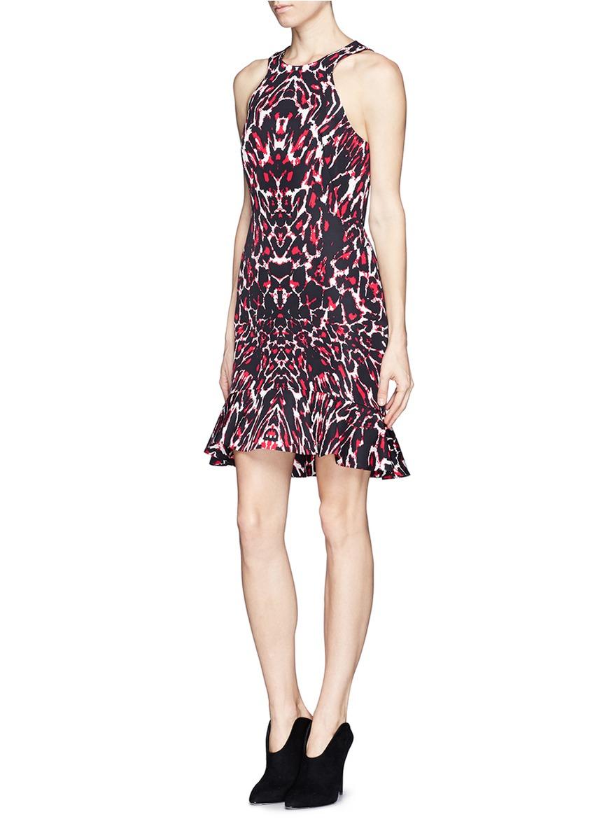 Lyst Mcq Pixel Leopard Print Trumpet Dress In Red