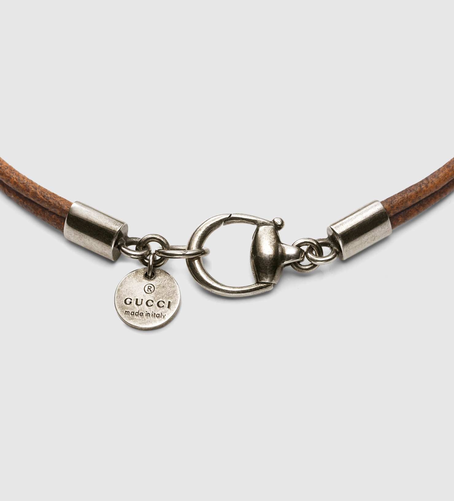 gucci bracelet with horsebit motif in brown for lyst