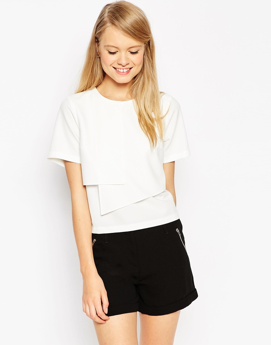 Lyst asos clean origami t shirt in white gallery jeuxipadfo Gallery