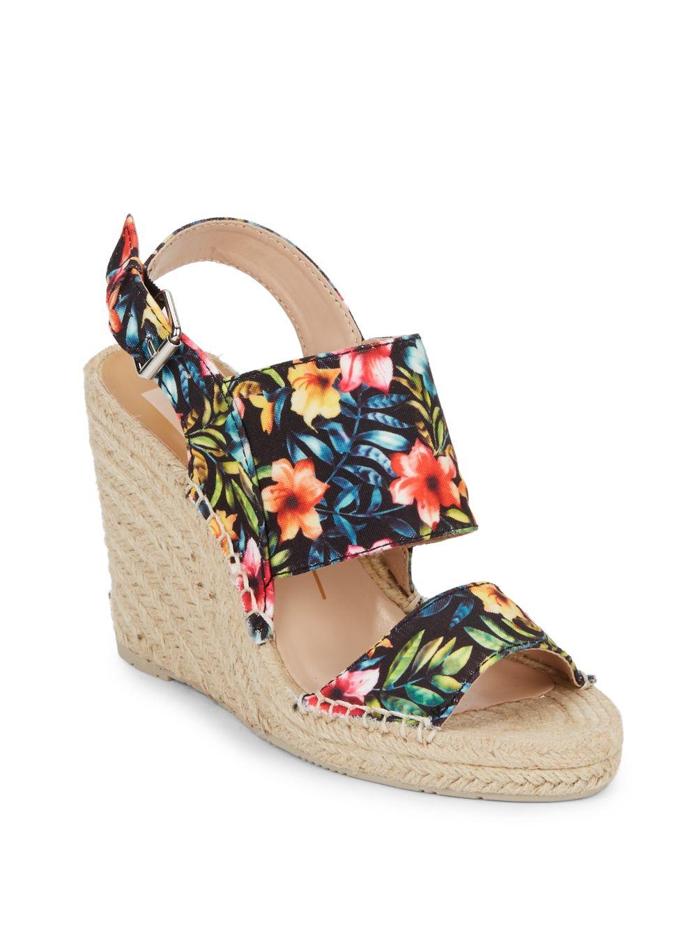 0ee1bda23c4 Dolce Vita Shady Floral-print Canvas Espadrille Wedge Sandals - Lyst