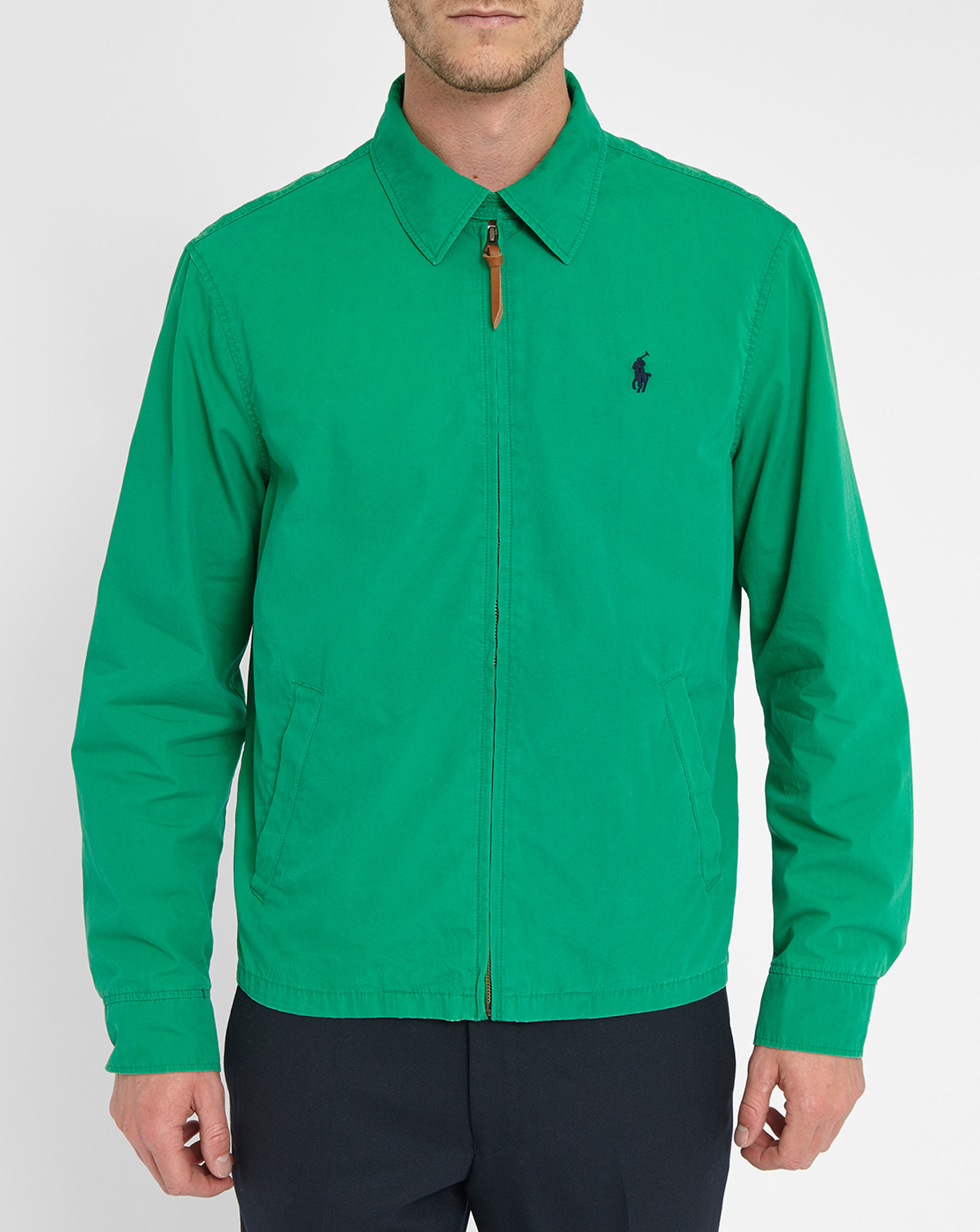 Polo ralph lauren green shirt collar chino jacket in green for Polo shirt with jacket