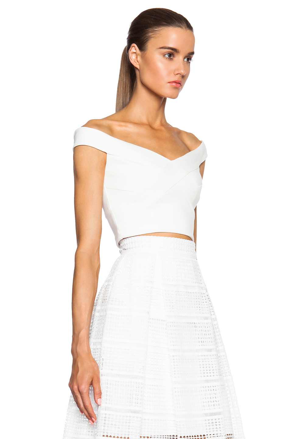 ddfe853a9e8 Nicholas Ponti Cross Front Off The Shoulder Top in White - Lyst