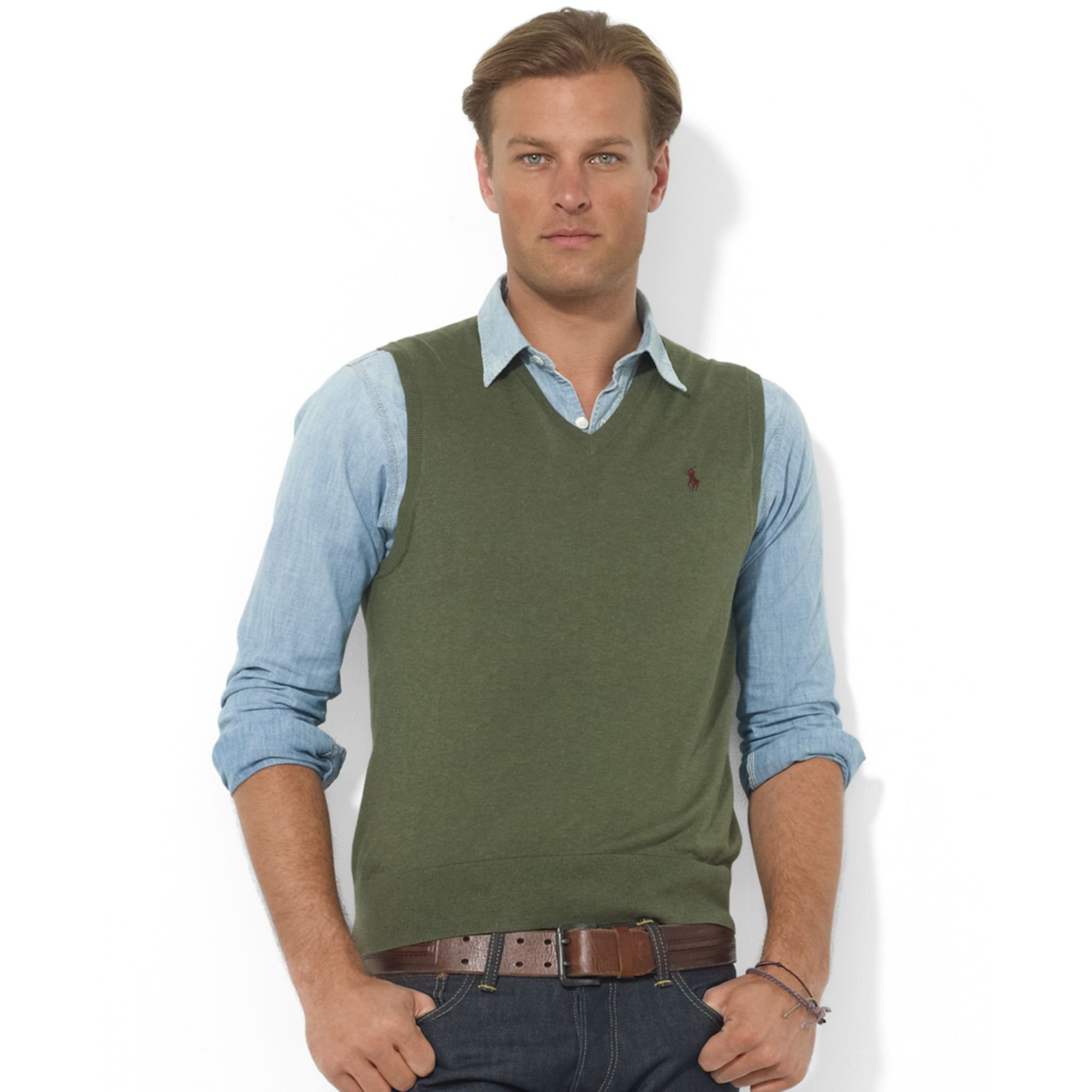 Ralph lauren V-neck Merino Wool Sweater Vest in Green for Men | Lyst
