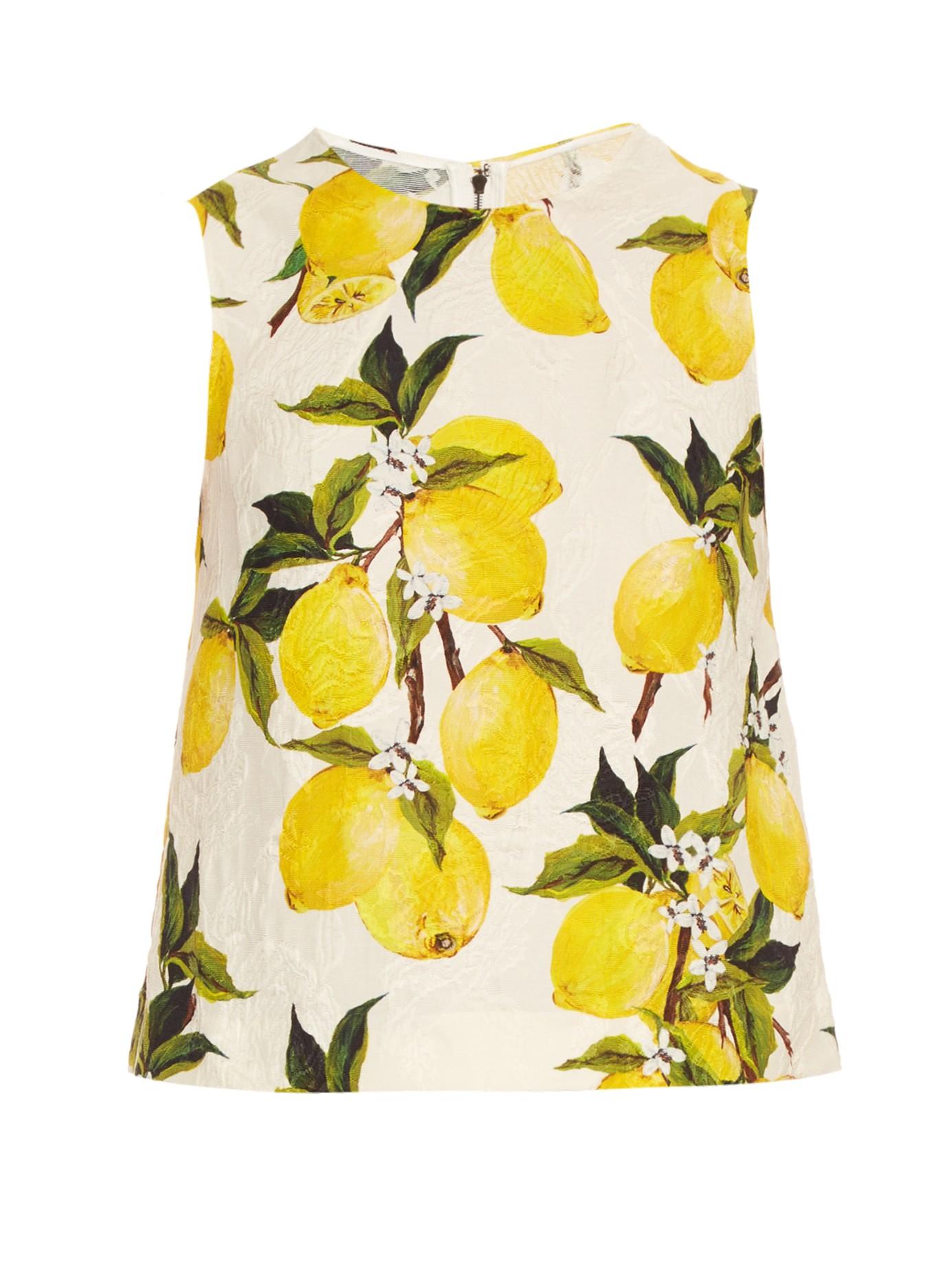 740f43330e8 Dolce   Gabbana Lemon-print Floral-brocade Top in Green - Lyst