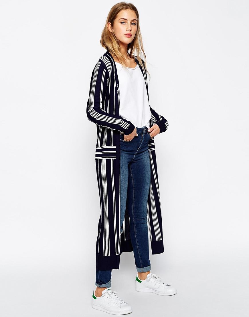 Asos Premium Maxi Cardigan In Stripe Fine Knit in Blue | Lyst