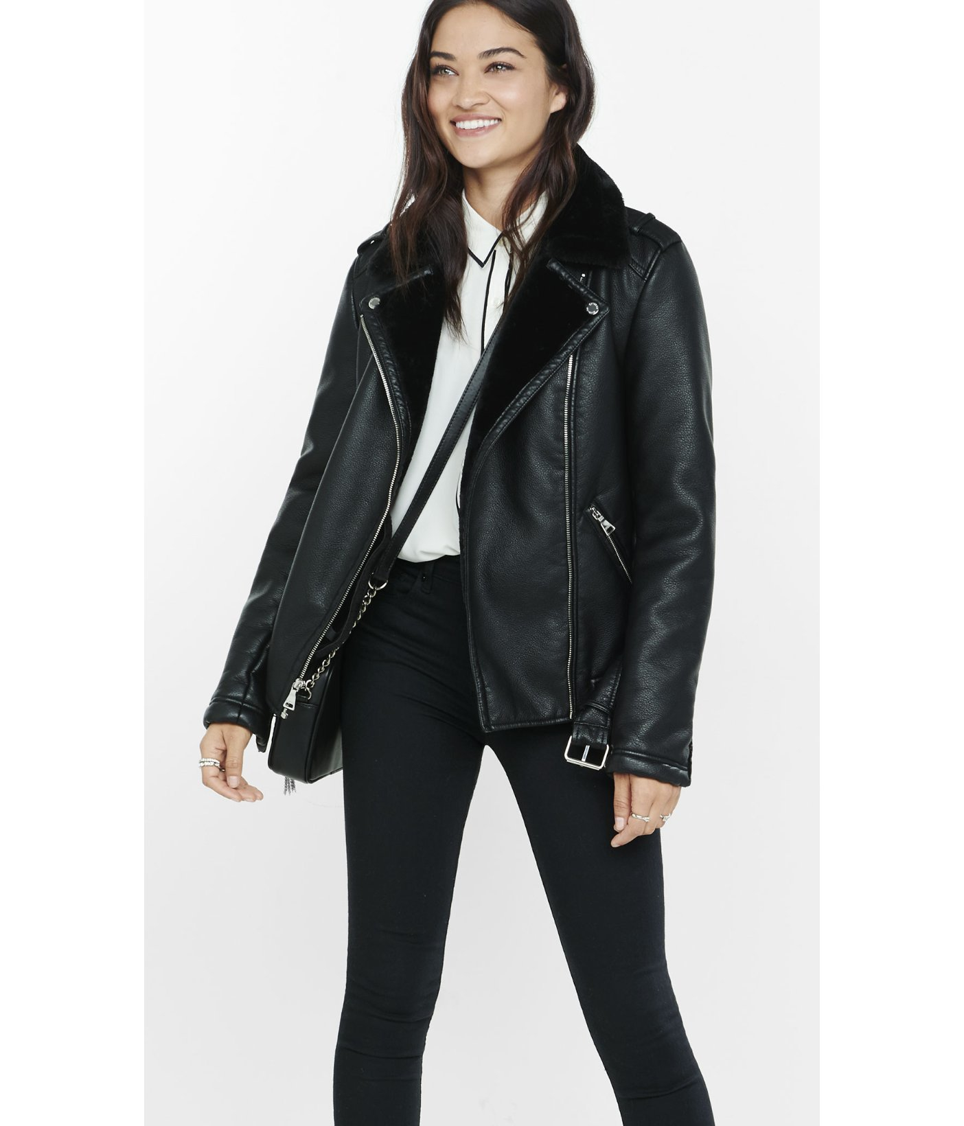 Express Black Faux Fur Lined Biker Jacket in Black | Lyst