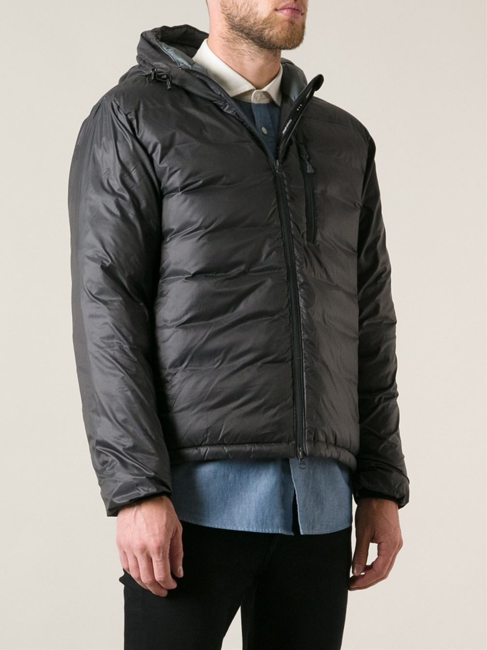 7ebc5400df25 ... where to buy lyst canada goose lodge hoody padded coat in gray for men  7c7dc dd974