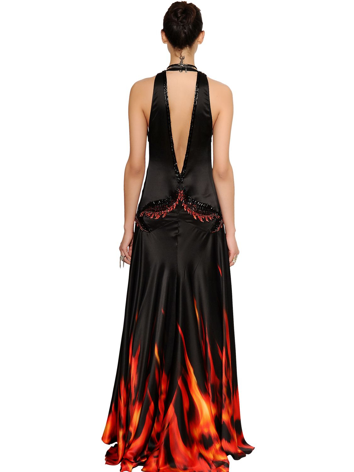 Roberto Cavalli Embellished Printed Silk Satin Dress In
