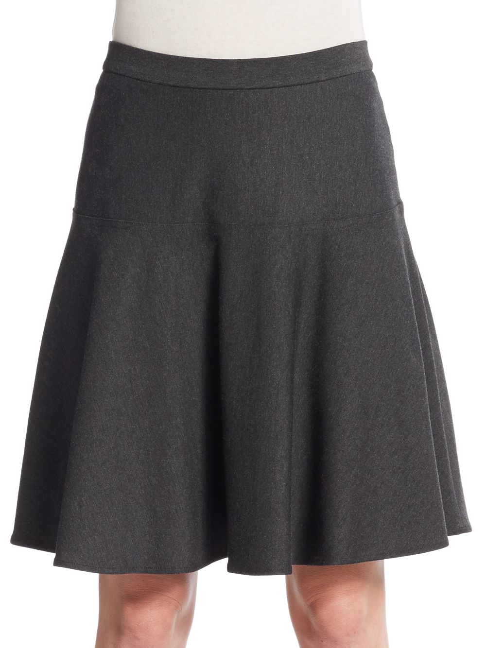 calvin klein woven a line skirt in gray heathered charcoal