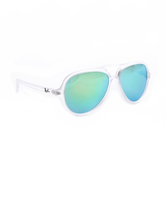 61f3116295 ... buy lyst ray ban matte transparent and crystal green mirror lens cats  37c5d d766e