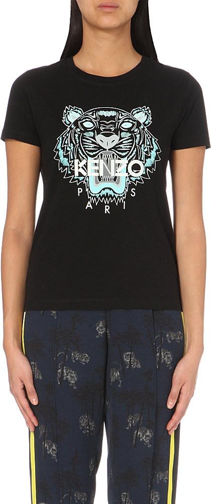 22f58660 KENZO Tiger-print Cotton-jersey T-shirt in Black - Lyst