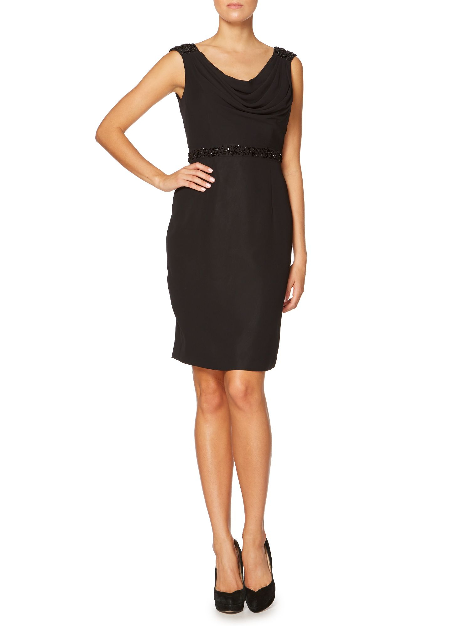 Shubette Cowl Neck Cocktail Dress With Beaded Waist In