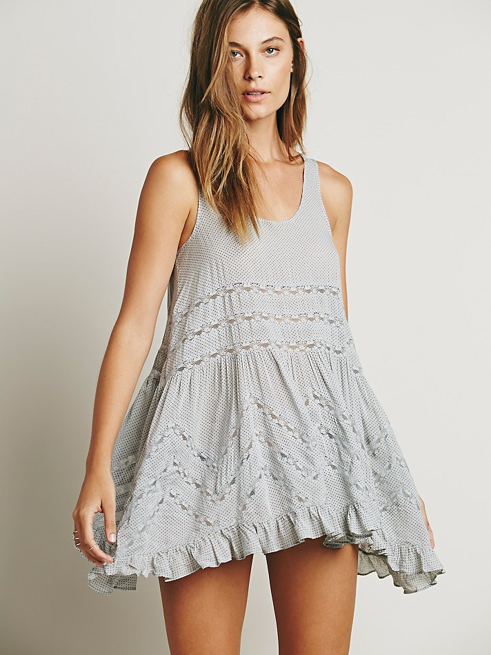 a8aae04356dd Lyst - Free People Voile And Lace Trapeze Slip in Gray