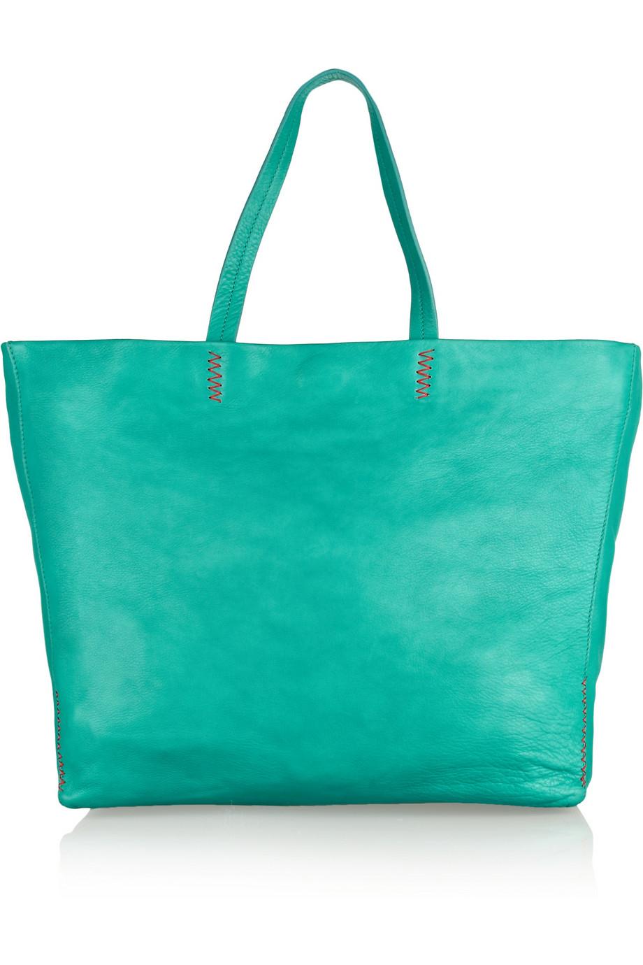 ce6f37f182 M Missoni Leather Shopper in Green - Lyst