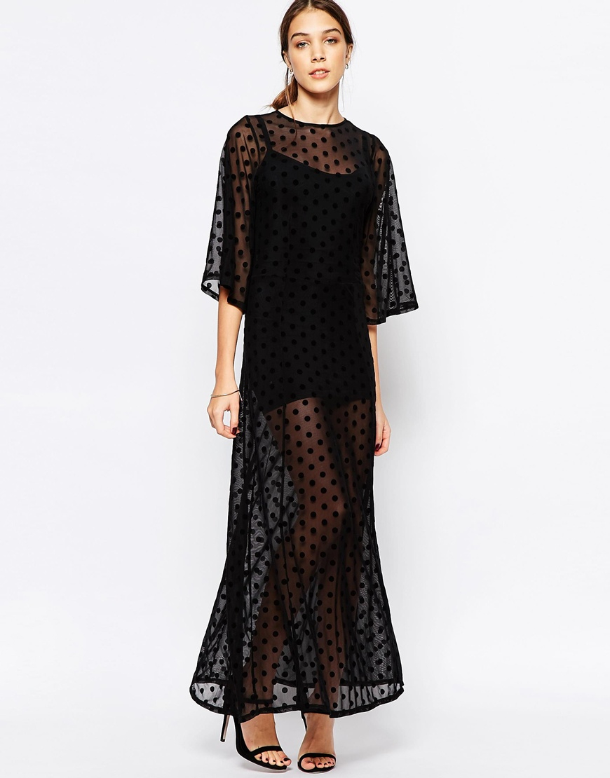 Ganni Sheer Maxi Dress In Mesh Dot in Black | Lyst
