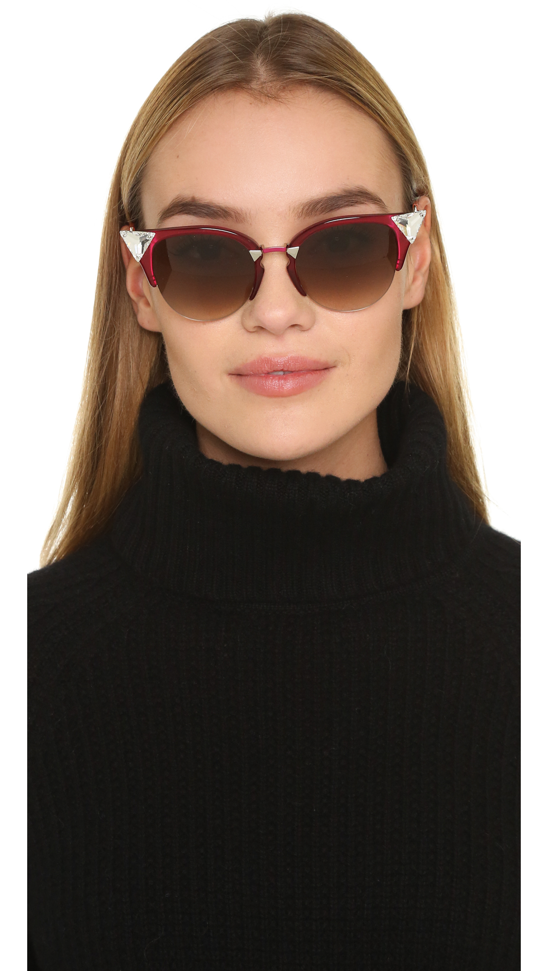 375f45494d98 Lyst - Fendi Crystal Corner Sunglasses in Red