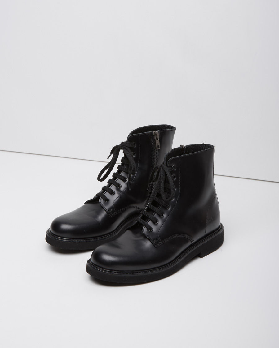 6741cac3245a Lyst - Common Projects Lace-Up Leather Combat Boots in Black
