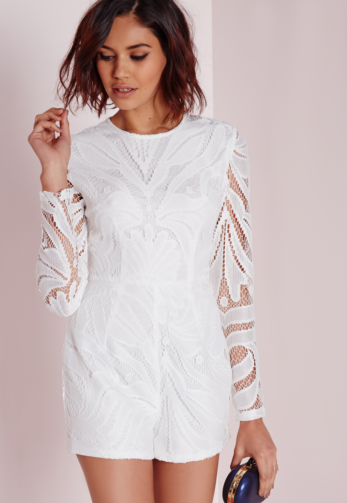061497119336 Lyst - Missguided Long Sleeve Lace Playsuit White in White