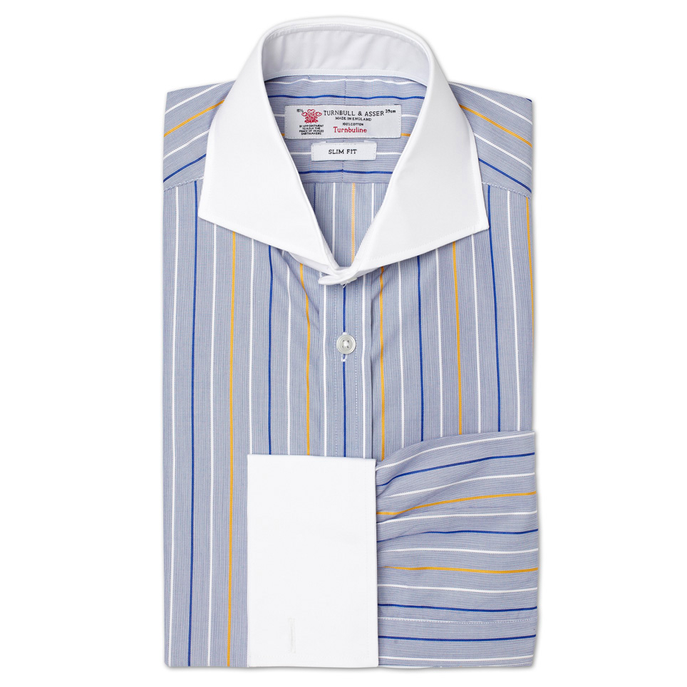 Turnbull asser slim fit shirt in blue white and yellow for Blue and white striped shirt with white collar