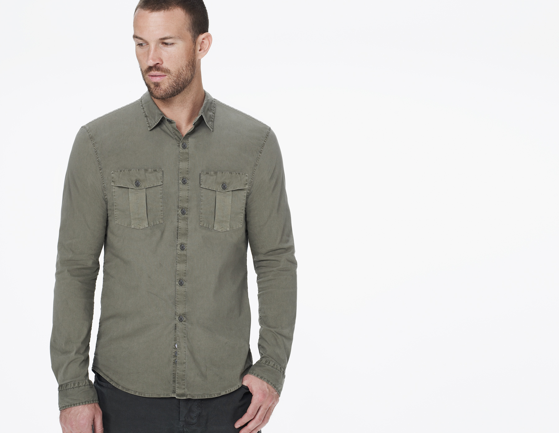 James perse fitted safari shirt in green for men safari for James perse t shirts sale