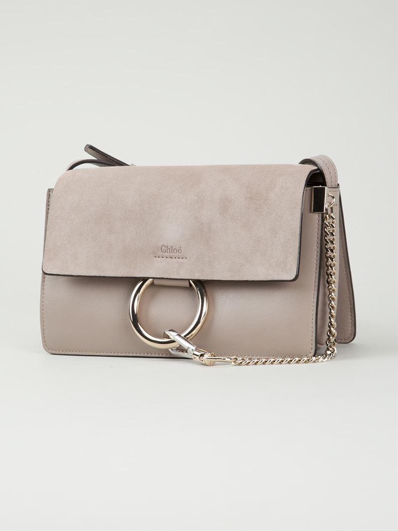Lyst - Chloé Faye Suede Shoulder Bag in Gray 74da9d28a