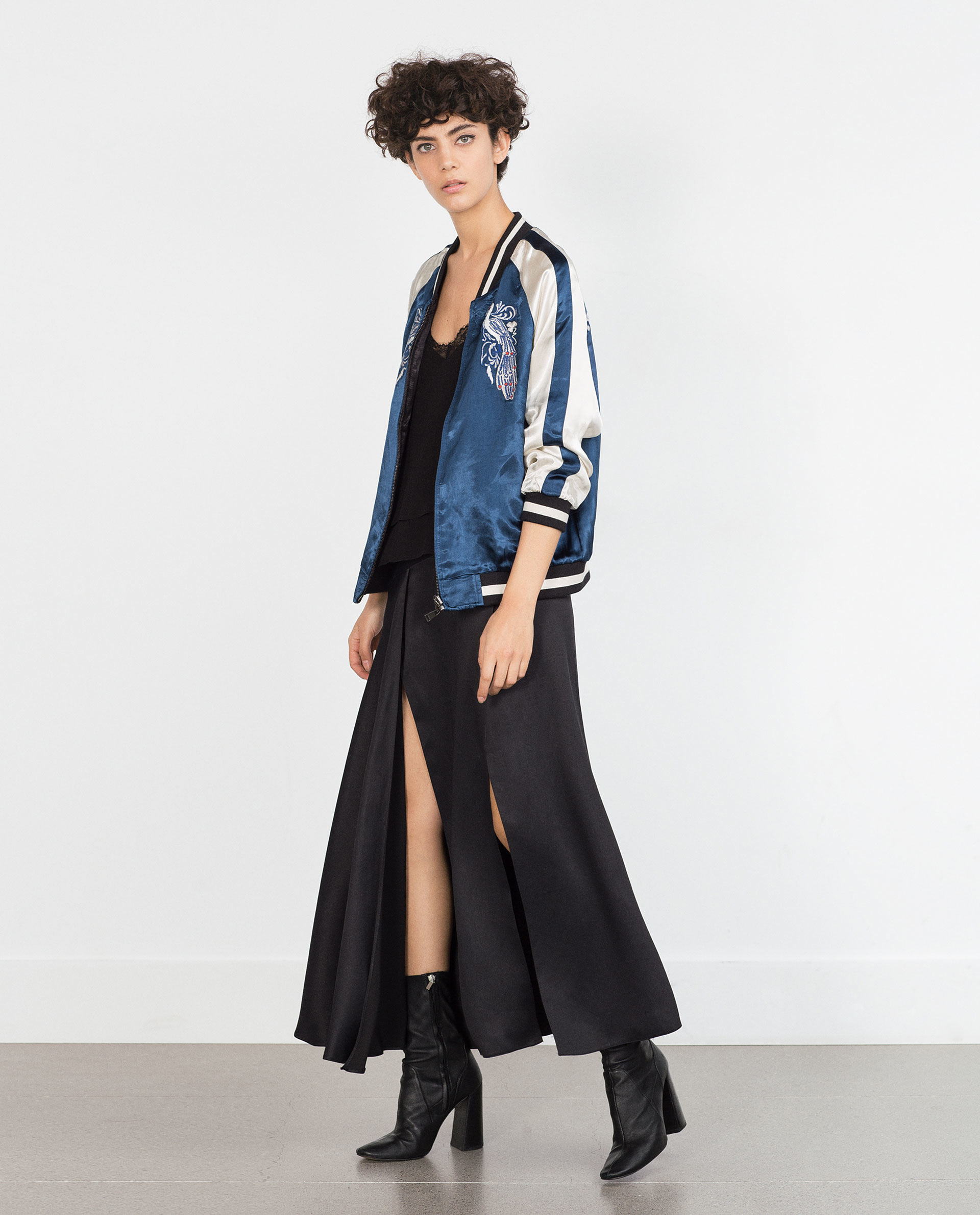 Zara Embroidered Studio Bomber Jacket In Blue | Lyst
