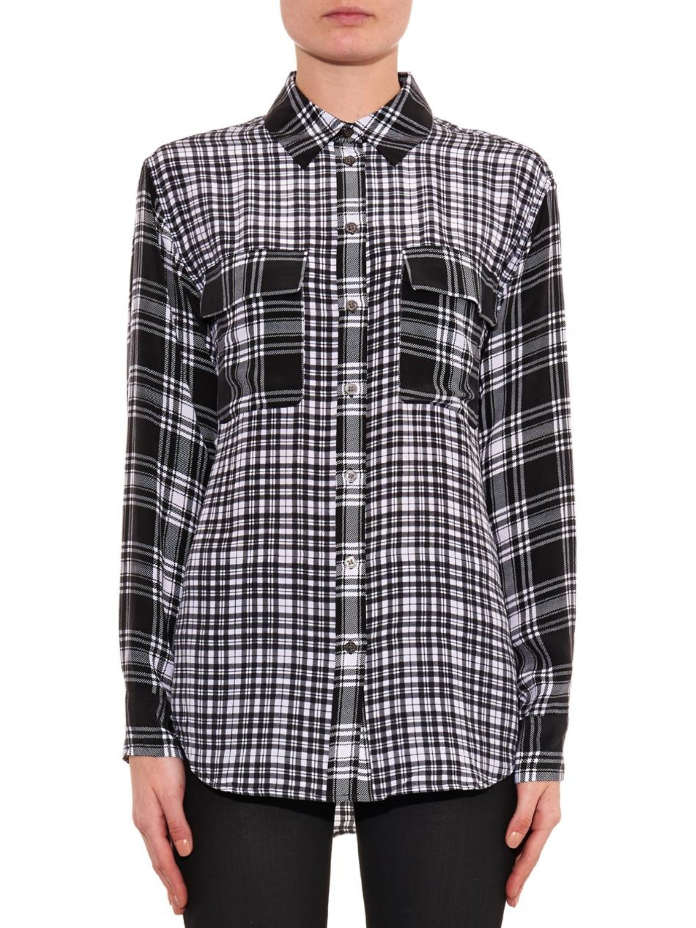 Equipment Signature Contrast Check Shirt In Black Lyst