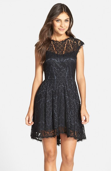 Lyst Adelyn Rae Lace Fit Flare Dress In Black