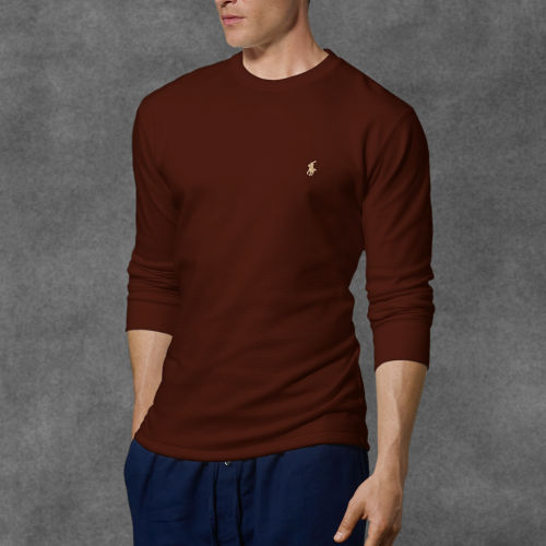 e439852cdb014 Lyst - Polo Ralph Lauren Waffle-knit Crewneck Thermal in Brown for Men