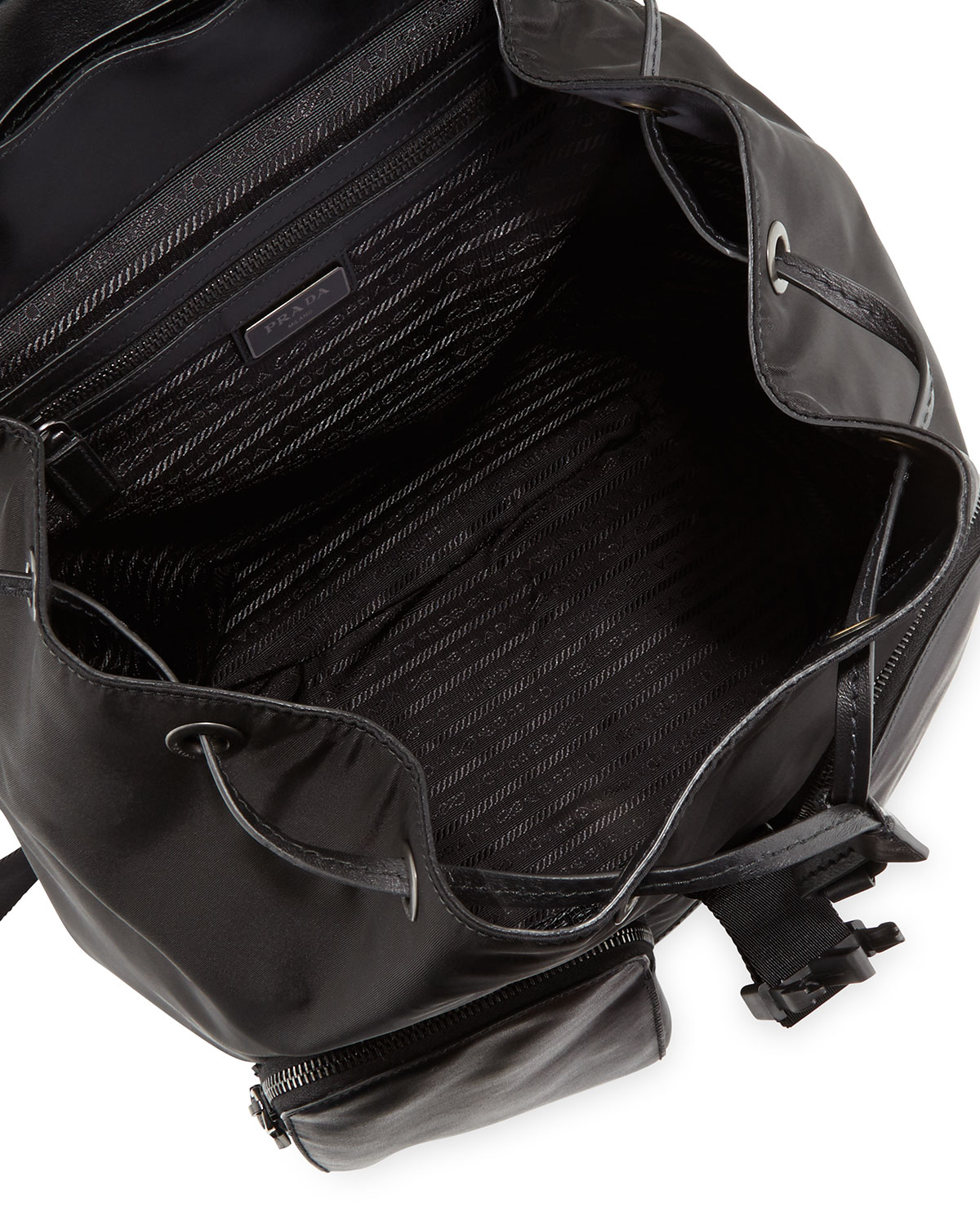 Prada Leather Backpack With Nylon Trim in Black for Men | Lyst
