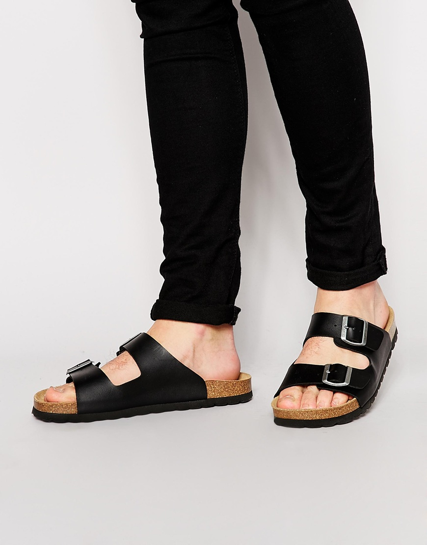 Asos Sandals With Buckle In Black For Men Lyst