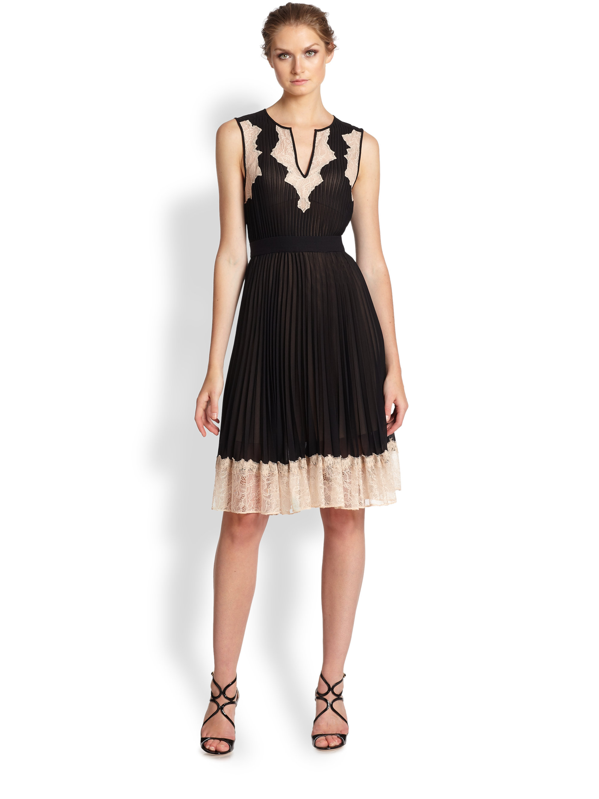 Bcbgmaxazria Pleated Lace-Trim Dress in Black | Lyst