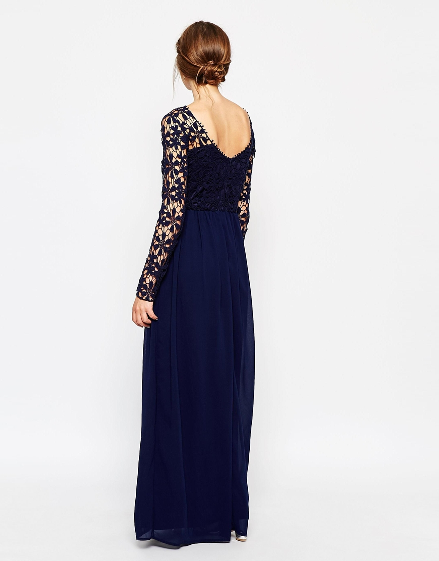 Lyst Club L Crochet Maxi Dress With Long Sleeves In Blue