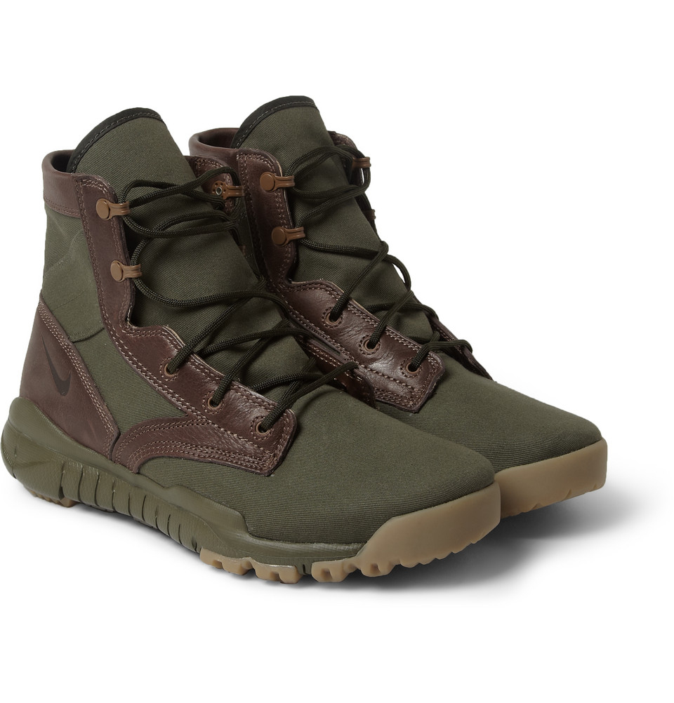 nike special field leather and canvas high top sneakers in