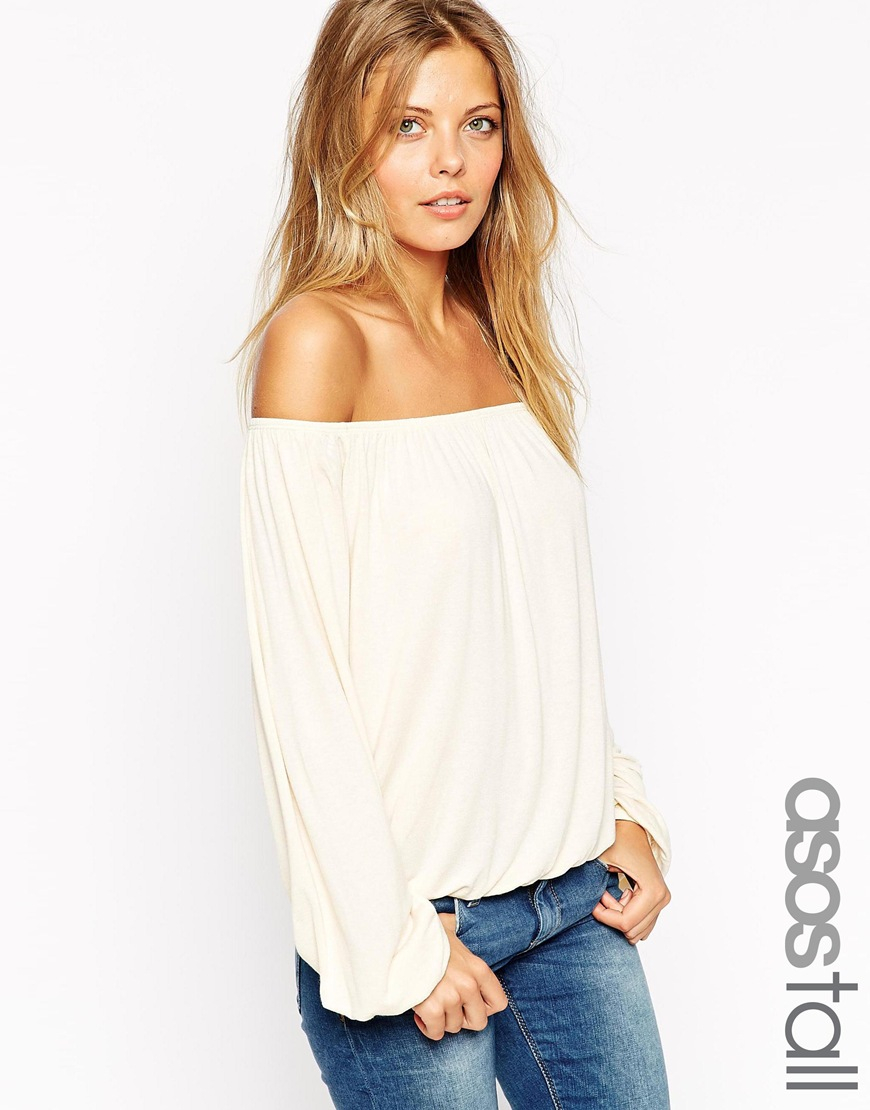 b0f120dfd25c3c Lyst - ASOS Off Shoulder Top In Slouchy Fabric in Natural